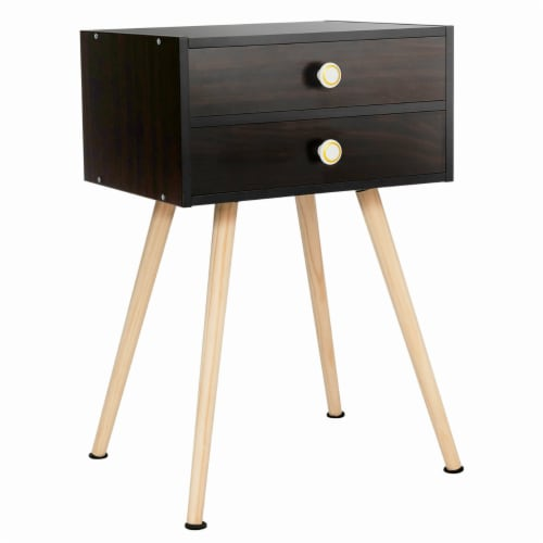 Costway Mid Century Modern 2 Drawers Nightstand Sofa Side Table End Table Espresso Perspective: front