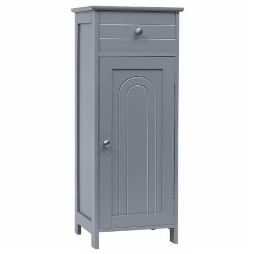 Costway Bathroom Floor Cabinet Storage Organizer Free-Standing w/ Drawer Grey Perspective: front