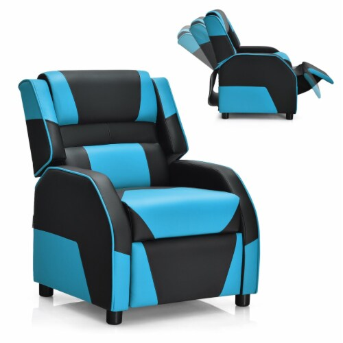 Costway Kids Youth Gaming Sofa Recliner w/Headrest & Footrest PU Leather Blue Perspective: front
