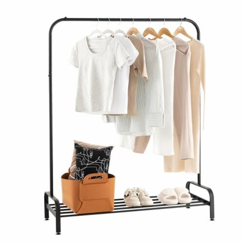 Costway Industrial Metal Garment Rack Heavy Duty Floor Cloth Rack w/ Shoe Storage Shelf Perspective: front