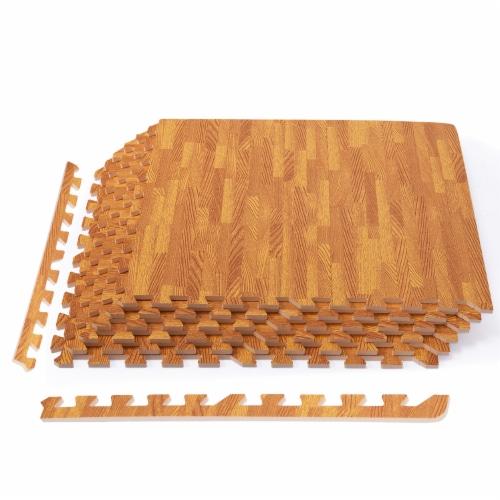 Costway 12PC Wood Grain Interlocking Floor Mats 3/8 Inch Printed Foam Tiles 24 x 24 Inch Perspective: front