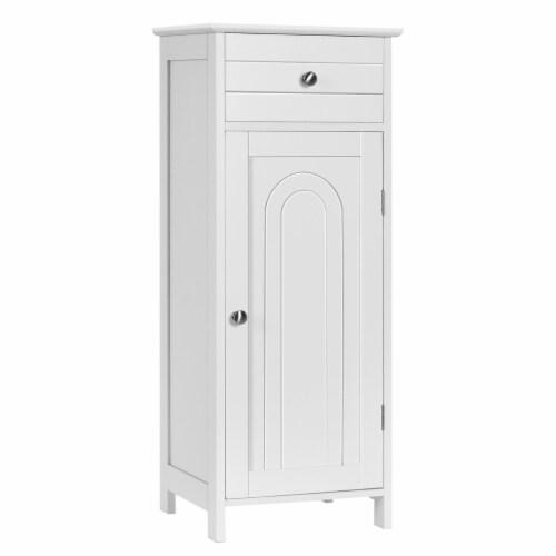 Costway Bathroom Floor Cabinet Wooden Storage Organizer Free-Standing w/ Drawer & Shelf Perspective: front