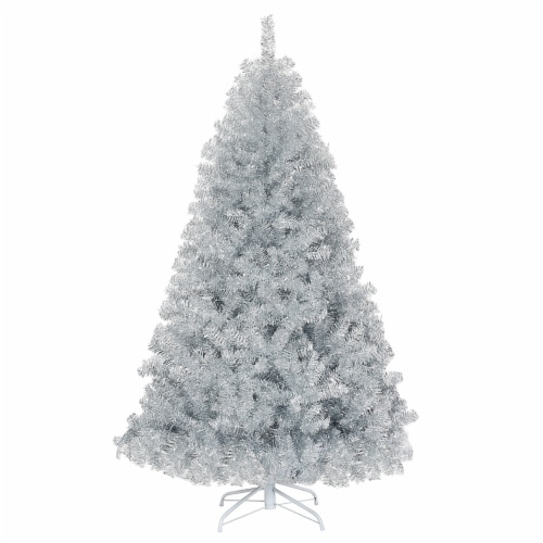 Costway 6Ft Hinged Unlit Artificial Silver Tinsel Christmas Tree Holiday w/Metal Stand Perspective: front