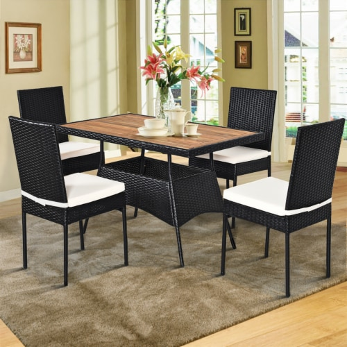 Costway 5 PCS Patio Rattan Furniture Set Wood Top Table Cushioned Chairs Garden Yard Deck Perspective: front