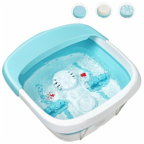 Costway Foldable Foot Spa Bath Motorized Massager w/ Bubble Heat Red Light Stress Relief Perspective: front