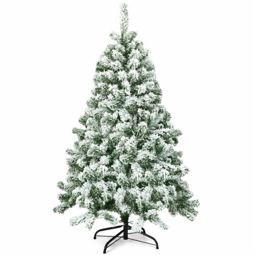 Costway 4.5FT Snow Flocked Artificial Christmas Tree Hinged w/400 Tips and Foldable Base Perspective: front