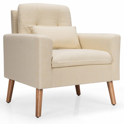 CostwayAccent Chair Upholstered Linen Armchair Sofa Chair w/Waist Pillow Grey Perspective: front