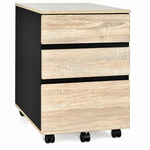 Costway 3-Drawer Mobile File Cabinet Vertical Filling Cabinet for Home Office Perspective: front