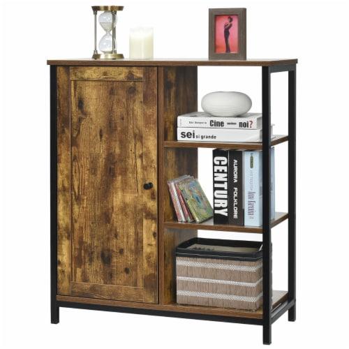 Costway Storage Cabinet Multipurpose Freestanding Cupboard w/3 Open Shelf & Door Perspective: front