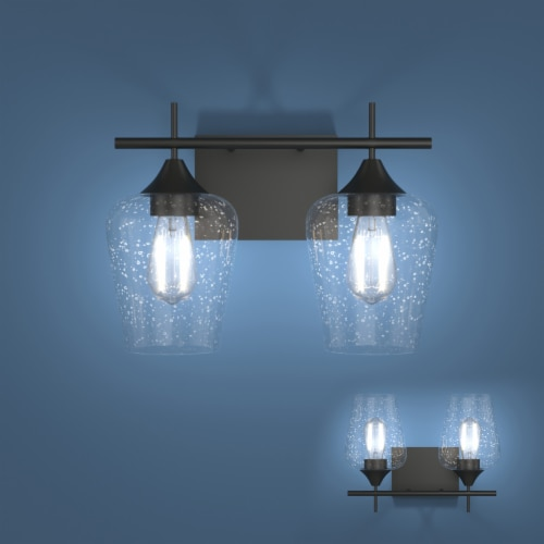 Costway 2-Light Wall Sconce Modern Bathroom Vanity Light Fixtures with Clear Glass Shade Perspective: front