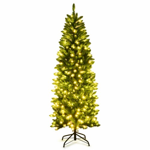 Costway 6Ft Pre-lit Artificial Pencil Christmas Tree Hinged Fir PVC Tree /250 LED Lights Perspective: front