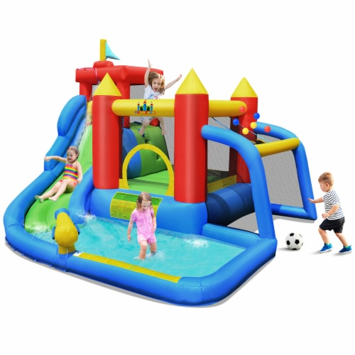 Costway Inflatable Bouncer Water Slide Bounce House Splash Pool without Blower Perspective: front