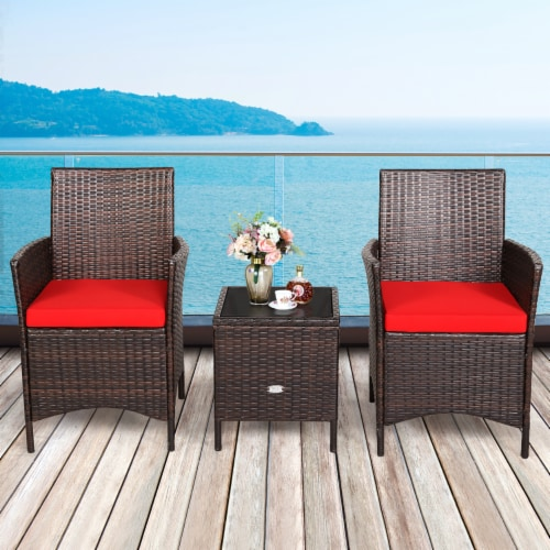 Costway 3PCS Patio Rattan Furniture Set Cushioned Sofa Glass Tabletop Deck Red\\Blue Perspective: front