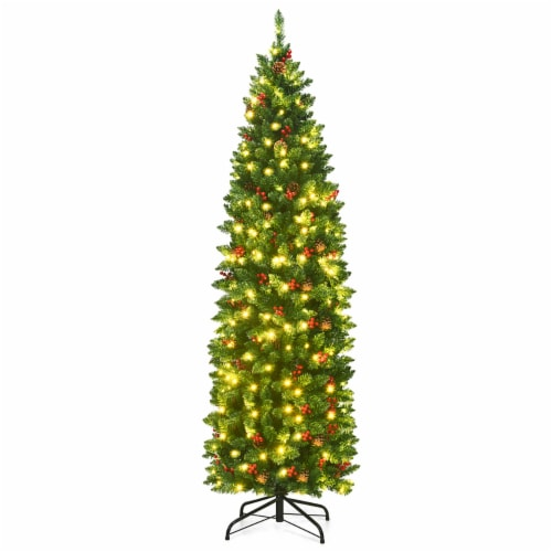 Costway 6.5Ft Pre-lit Hinged Pencil Christmas Tree w/Pine Cones Red Berries & 250 Lights Perspective: front