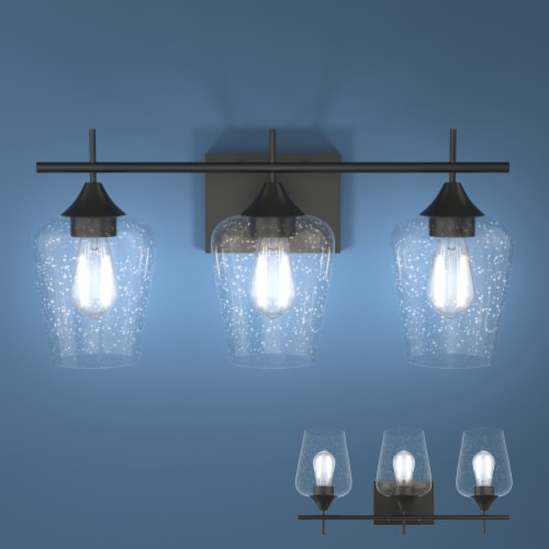 Costway 3-Light Wall Sconce Modern Bathroom Vanity Light Fixtures with Clear Glass Shade Perspective: front