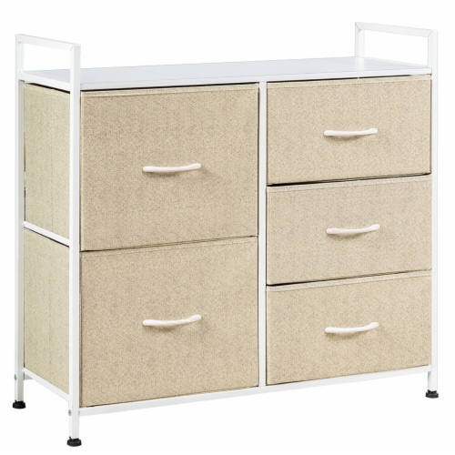 Costway 5 Drawers Dresser Storage Unit Side Table Display Organizer Dorm Room Beige Perspective: front