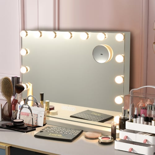 Costway Hollywood Vanity Lighted Mirror Touch Control Magnification  Speaker Perspective: front