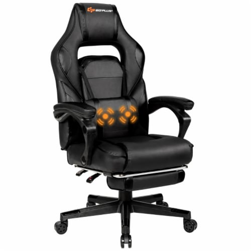 Goplus Massage Gaming Chair Reclining Racing Computer Office Chair with Footrest White\ Perspective: front