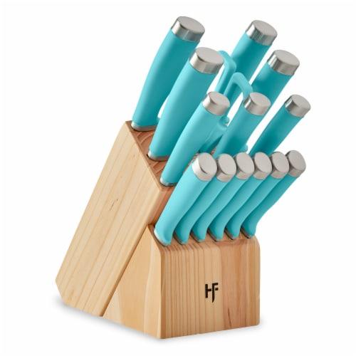Hampton Forge Epicure Knife Block Set - True Aqua Perspective: front
