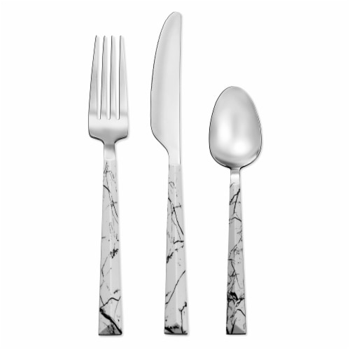 Hampton Forge Dali Marble Flatware Set - Silver Perspective: front
