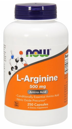 Now L Arginine 500mg Capsules Perspective: front