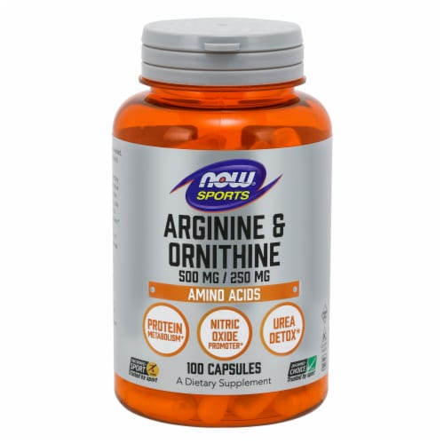 NOW Foods NOW Sports Arginine & Ornithine Amino Acids Dietary Supplement Capsules Perspective: front