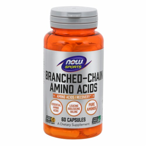 NOW Foods NOW Sports Branched-Chain Amino Acids Recovery Dietary Supplement Capsules Perspective: front