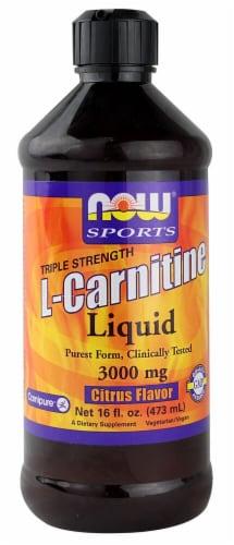 NOW  Sports Triple Strength L-Carnitine Liquid   Citrus Perspective: front
