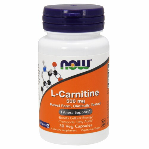 NOW Foods L-Carnitine Fitness Support Dietary Supplement Veg Capsules 500mg Perspective: front