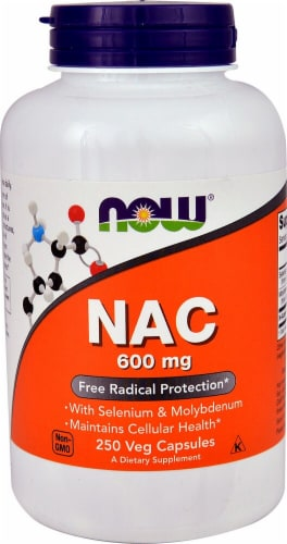 NOW Foods NAC Dietary Supplement Veg Capsules 600mg Perspective: front