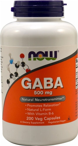 NOW Foods GABA Dietary Supplement Veg Capsules 500mg Perspective: front