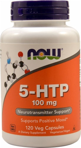 NOW Foods 5-HTP Veg Capsules 100mg Perspective: front
