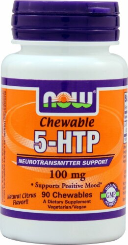 NOW Foods  5-HTP Chewable   Natural Citrus Perspective: front