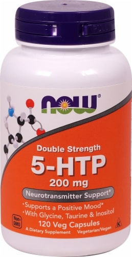 NOW Foods Double Strength 5-HTP Dietary Supplement Veg Capsules 200mg Perspective: front