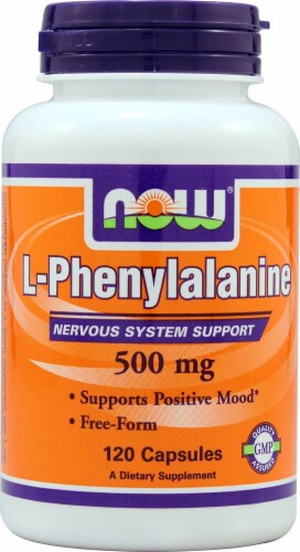 NOW Foods L-Phenylalanine Dietary Supplement Capsules 500mg Perspective: front