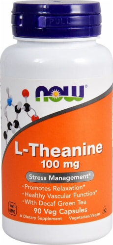 NOW Foods L-Theanine Veg Capsules 100 mg Perspective: front