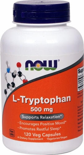 NOW Foods L-Tryptophan Dietary Supplement Veg Capsules 500mg Perspective: front