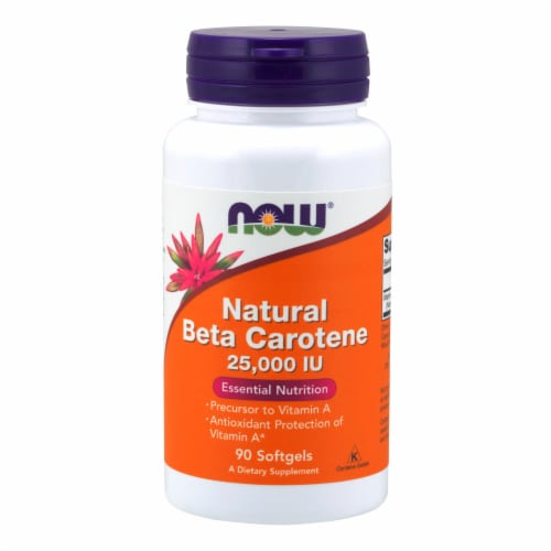 NOW Foods Natural Beta Carotene 25000 IU Essential Nutrition Dietary Supplement Softgels Perspective: front