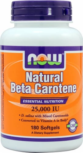 NOW Foods Natural Beta Carotene Dietary Supplement Softgels 25000IU Perspective: front