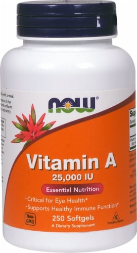 NOW Vitamin A 25000 IU Softgels Perspective: front