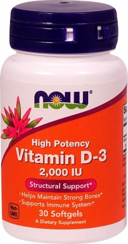NOW Foods Vitamin D-3 Tablets Perspective: front