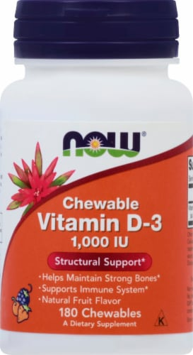NOW Foods Vitamin D-3 Chewable Natural Fruit Flavor Tablets 1000IU Perspective: front