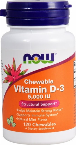 NOW Foods Chewable Vitamin D-3 Natural Mint Flavor Tablets 5000IU Perspective: front