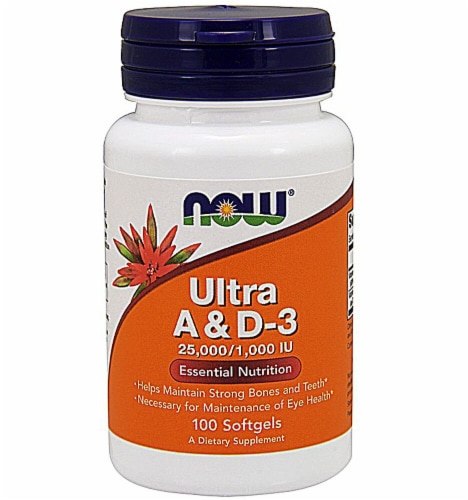 NOW Foods Ultra A & D-3 Dietary Supplement Softgels Perspective: front