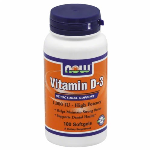 Now Vitamin D-3 Softgels1000 IU 180 Count Perspective: front