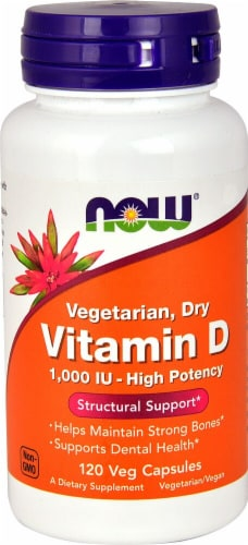 NOW Foods  Vitamin D Vegetarian Dry Veg Capsules 1000 iu Perspective: front