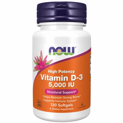 NOW Foods Vitamin D3 Softgels 5000mcg Perspective: front