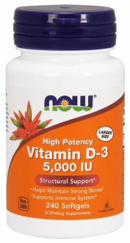 Now High Potency Vitamin D3 5000 Iu Softgels Perspective: front