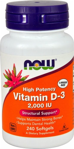NOW Foods Vitamin D-3 Softgels 2000IU Perspective: front