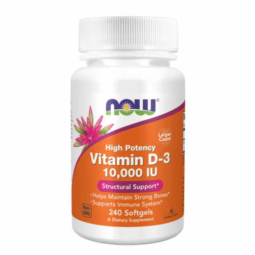 Now Vitamin D-3 10000 IU Softgels Perspective: front